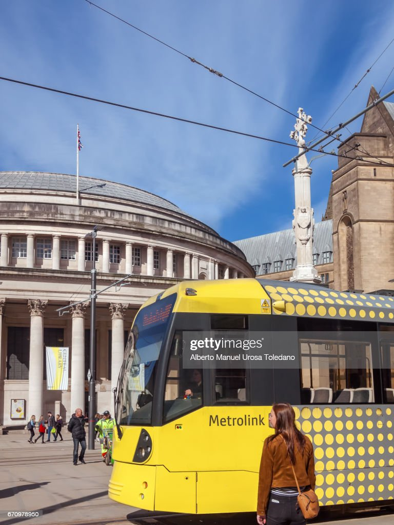 England Manchester Central Library And Tram Stock Photo Getty Images