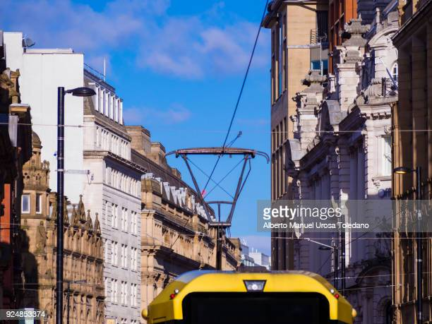 england, manchester, cross st., cityscape, tram - tram stock photos and pictures