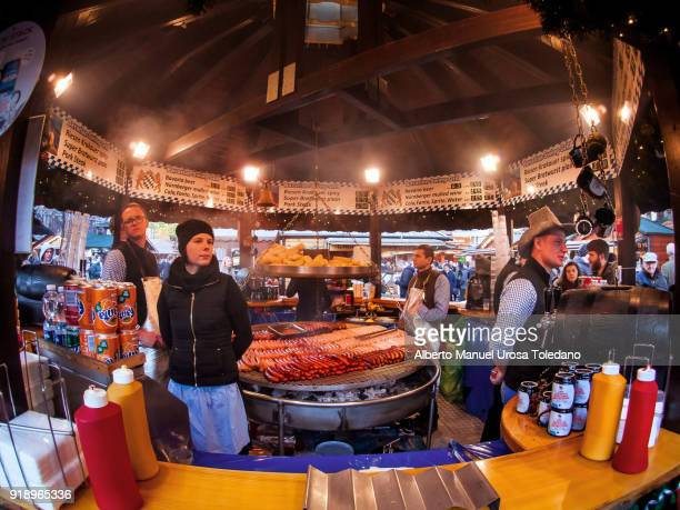 England, Manchester, Food stall - Christmas market