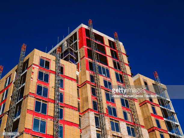england, manchester, northern quarter, construction site - housing difficulties stock pictures, royalty-free photos & images