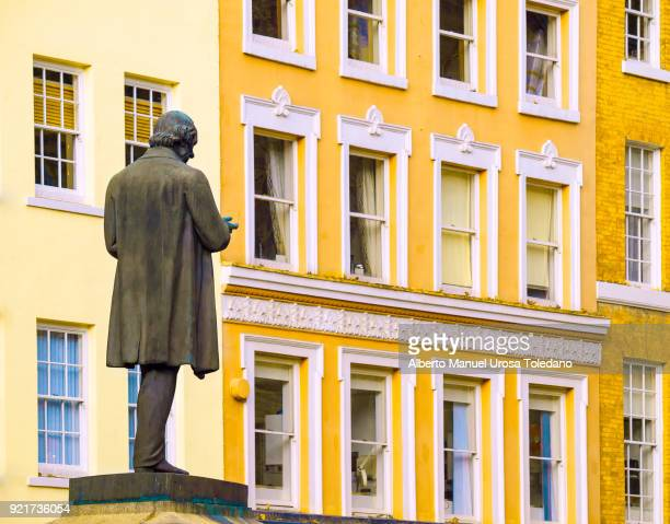 england, manchester, richard cobden statue, st ann's square - manchester england stock pictures, royalty-free photos & images