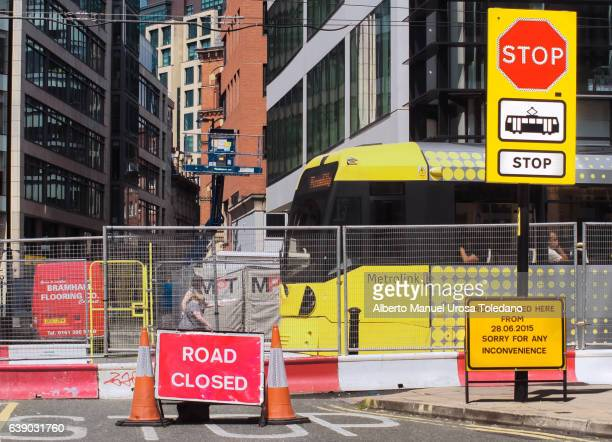 England, Manchester, Road closed