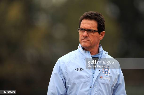 England manger Fabio Capello looks on during the England training session on November 14, 2011 in London Colney, England.