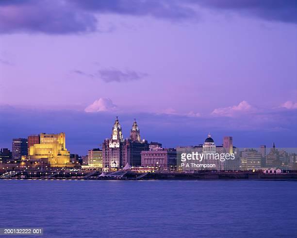 England, Merseyside, Liverpool, Salthouse Dock and city skyline, dusk