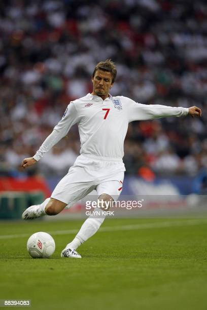 England midfielder David Beckham makes his 112th appearance during the World Cup Qualifying match against Andorra at Wembley Stadium London on June...