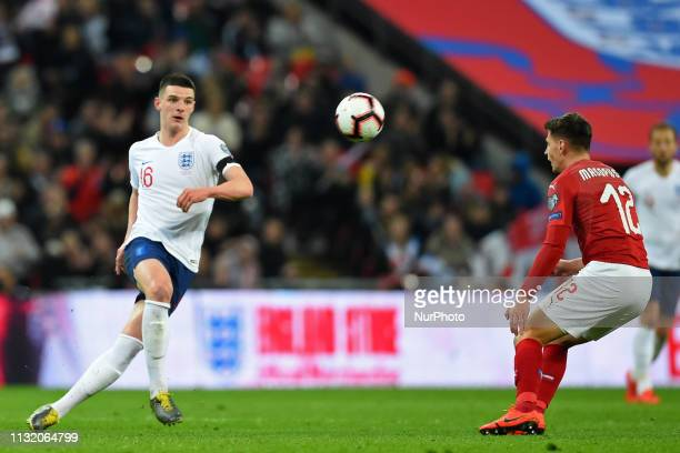England midfielder Declan Rice clears from Czech Republic midfielder Lukas Masopust during the UEFA European Championship Group A Qualifying match...