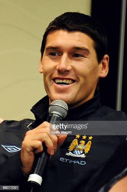 England midfielder Gareth Barry chats with the media during the Manchester City Press Conference at O.R Tambo International Airport on July 17, 2009...