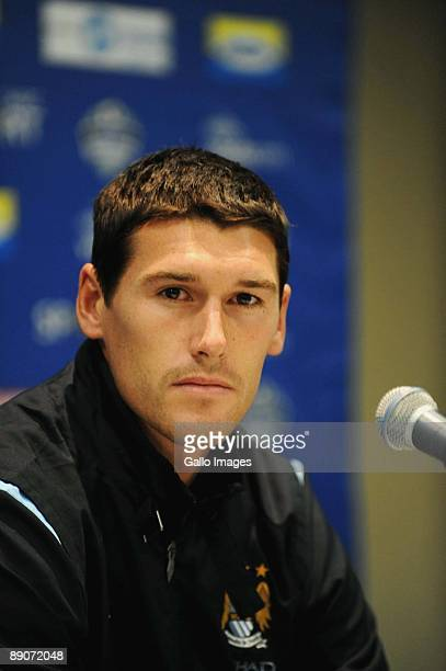 England midfielder Gareth Barry looks on during the Manchester City Press Conference at O.R Tambo International Airport on July 17, 2009 in...