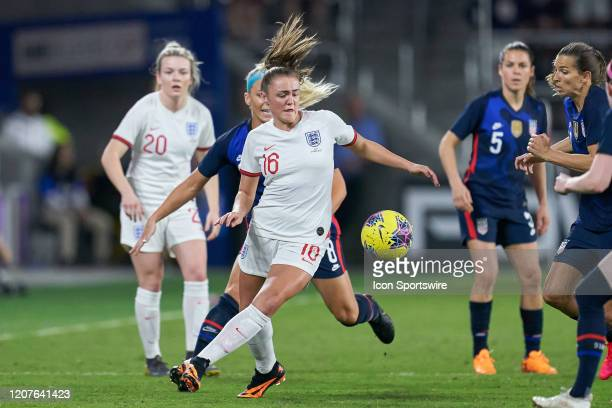 England midfielder Georgia Stanway battles with United States midfielder Julie Ertz during the Women's SheBelieves Cup match between the USA and...