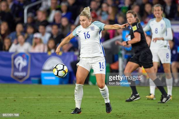 England midfielder Isobel Christiansen handles the ball during the SheBelieves Cup match between USA and England on March 07 at Orlando City Stadium...