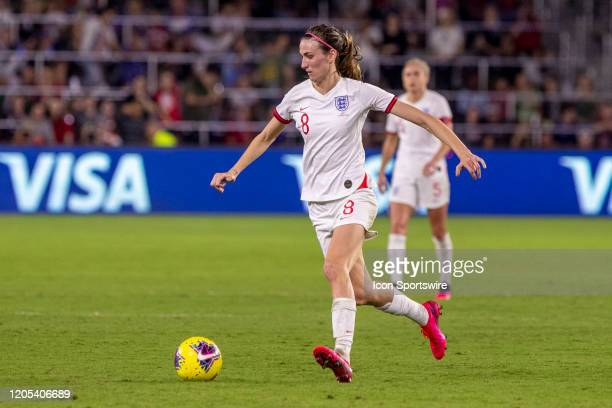 England midfielder Jill Scott controls the ball during the SheBelieves Cup match between England and the USA on March 5 at Exploria Stadium in...