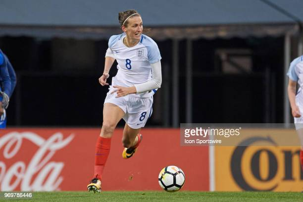 England midfielder Jill Scott dribbles the ball during the SheBelieves Cup match between England and France on March 01 2018 at Mapfre Stadium in...