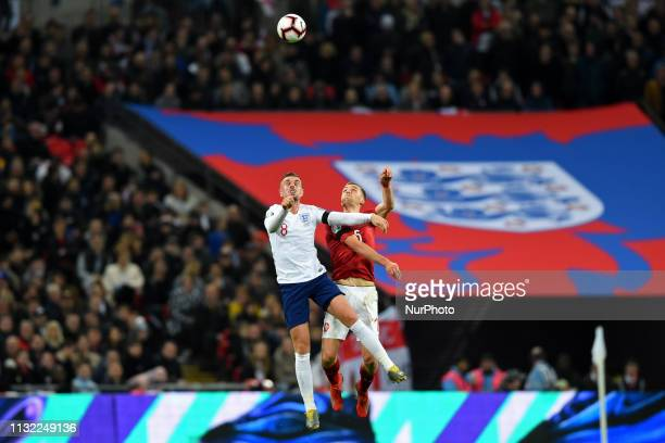 England midfielder Jordan Henderson and Czech Republic defender Tomas Kalas battle in the air during the UEFA European Championship Group A...