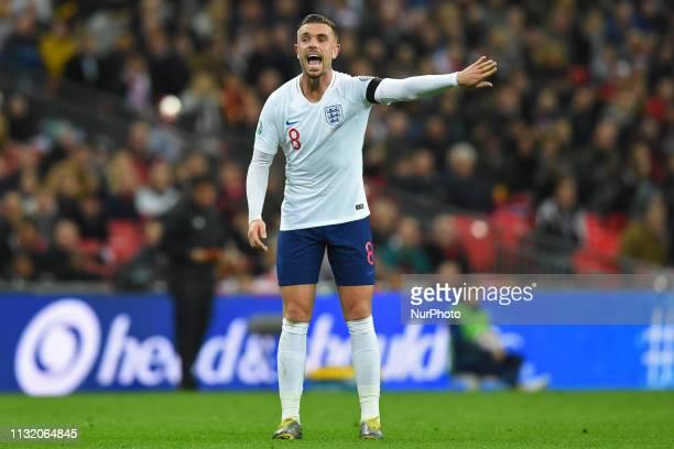 England midfielder Jordan Henderson gets himself heard during the UEFA European Championship Group A Qualifying match between England and Czech...