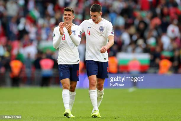England midfielder Mason Mount applauds the fans on his debut during the UEFA Euro 2020 Group A Qualifying match between England and Bulgaria at...