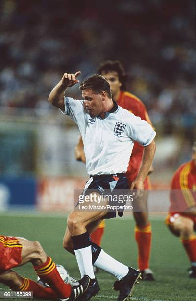 England midfielder Paul Gascoigne pictured in action during the 1990 FIFA World Cup last 16 knockout round game between Belgium and England at the...