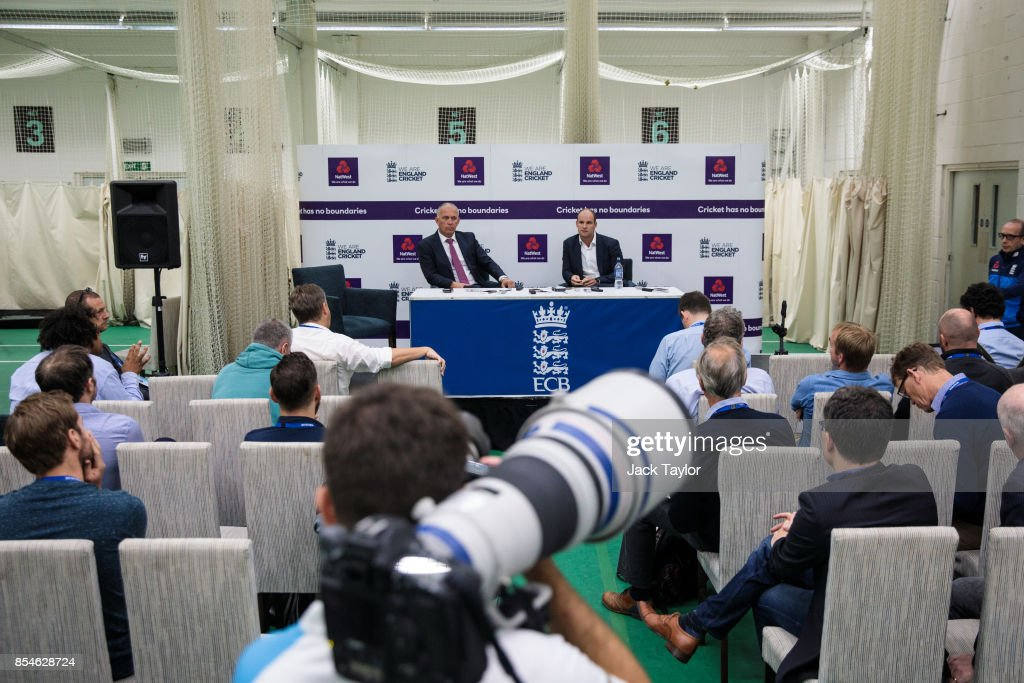 England National Selector James Whitaker (L) and former English international cricketer Andrew Strauss (R) hold a press conference at The Kia Oval on September 27, 2017 in London, England. The England Cricket Test squad are announced today ahead of this winter's tour of Australia.