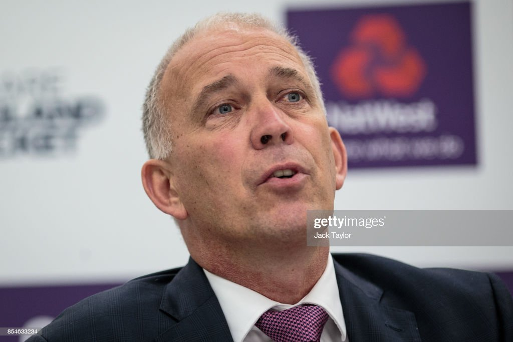 England National Selector James Whitaker holds a press conference at The Kia Oval on September 27, 2017 in London, England. The England Cricket Test squad are announced today ahead of this winter's tour of Australia.