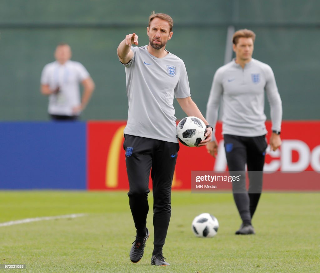 England national team head coach Gareth Southgate gestures during an England national team training session ahead of the FIFA World Cup 2018 in Russia at Stadium Spartak Zelenogorsk on June 13, 2018 in Saint Petersburg, Russia.