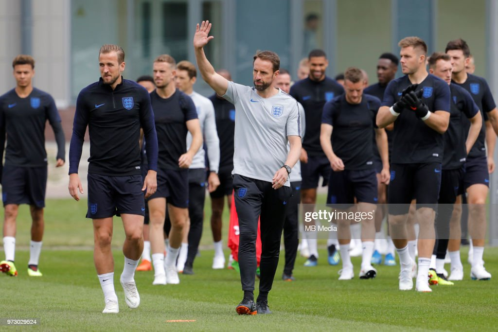 England national team head coach Gareth Southgate greets the public during an England national team training session ahead of the FIFA World Cup 2018 in Russia at Stadium Spartak Zelenogorsk on June 13, 2018 in Saint Petersburg, Russia.