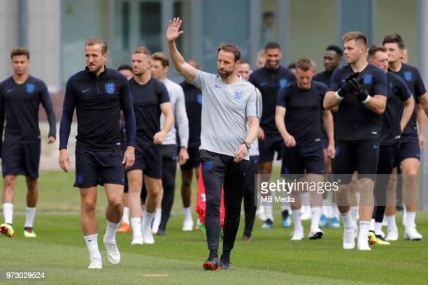 England national team head coach Gareth Southgate greets the public during an England national team training session ahead of the FIFA World Cup 2018...