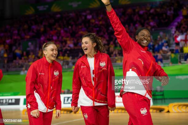 England Netball Team members seen celebrating their win and Gold Medal at Coomera Indoor Sports Center at the 2018 Gold Coast Commonwealth Games