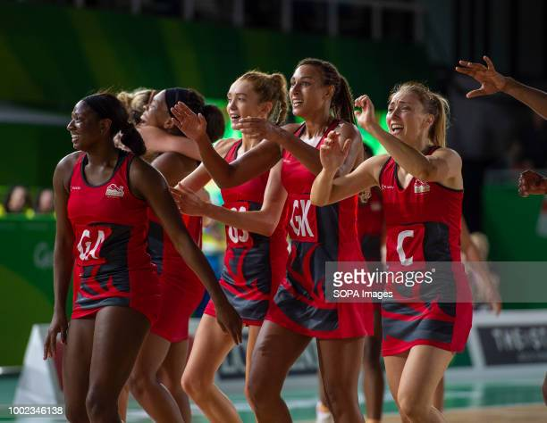 England Netball Team seen celebrating their win and Gold Medal at Coomera Indoor Sports Center at the 2018 Gold Coast Commonwealth Games
