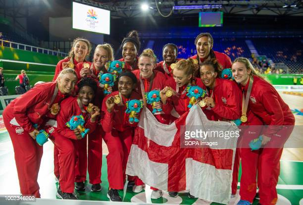 England Netball Team seen celebrating their win and Gold Medal at Coomera Indoor Sports Center at the the 2018 Gold Coast Commonwealth Games