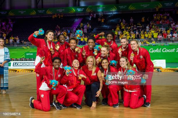 England Netball Team seen celebrating their win and Gold Medal at Coomera Indoor Sports Center during the 2018 Gold Coast Commonwealth Games