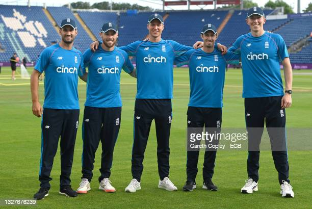 England new caps Lewis Gregory, Phil Salt, Brydon Carse, John Simpson and Zak Crawley after the 1st Royal London Series One Day International match...