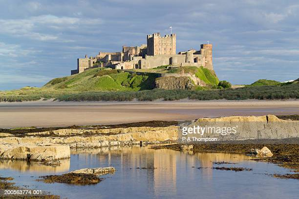 uk, england, northumberland, bamburgh castle on hill near beach - northumberland stock pictures, royalty-free photos & images