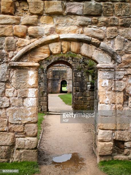 England NorthYorkshire Romanesque arch Three doors successive North Yorkshire the ruins of the 12th century Cistercian Abbey known as Fountains Abbey...