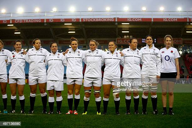 England observe the national anthem ahead of the Women's International match between England v Ireland at Twickenham Stoop on November 14 2015 in...