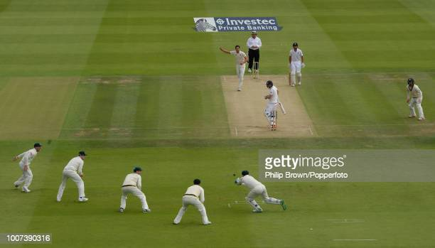 England opener Adam Lyth is caught by Australia's wicketkeeper Peter Nevill off the bowling of Mitchell Starc for 0 during the 2nd Ashes Test match...