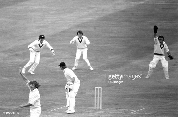 England opener Dennis Amiss is trapped LBW off bowling of Gary Gilmour the 23years old all rounder from New South Wales during the World Cup...