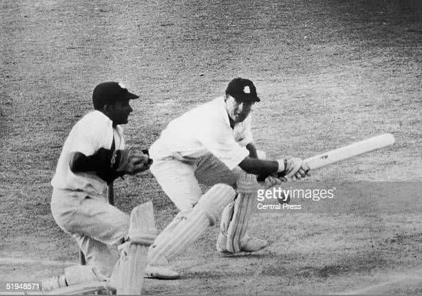 England opener Geoff Boycott cuts the ball on the final day of the fourth test against the West Indies at Queen's Park Oval, Port of Spain, Trinidad,...