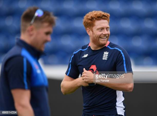 England opener Jason Roy reacts as Jonny Bairstow looks on during England nets ahead of their ICC Champions Trophy match against Pakistan at SWALEC...