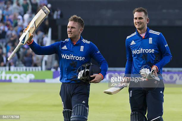 England openers Jason Roy and Alex Hales acknowledge the crowd as they walk from the pitch after batting England to victory in the second one day...