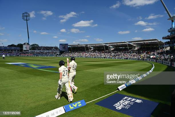 England opening batsman Dom Sibley and Rory Burns head out to bat in the second innings during day three of the second LV= Insurance Test Match...