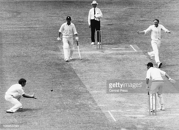 England opening batsman Geoff Boycott is caught out by Ian Redpath off a ball from Alan Thomson during the Fifth Test at Melbourne 1st February 1971