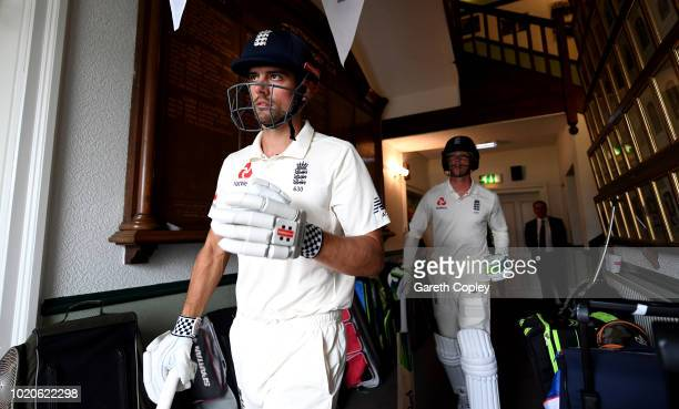 England opening batsmen Alastair Cook and Keaton Jennings walk from the pavilion ahead of day four of the Specsavers 3rd Test match between England...