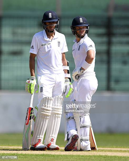 England opening batsmen Haseeb Hameed and Ben Duckett during a tour match between a Bangladesh Cricket Board XI and England at MA Aziz stadium on...