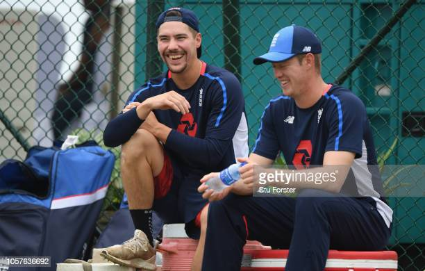 England opening batsmen Rory Burns and Keaton Jennings chat during England Cricket Nets at Galle International Stadium ahead of the First Test Match...