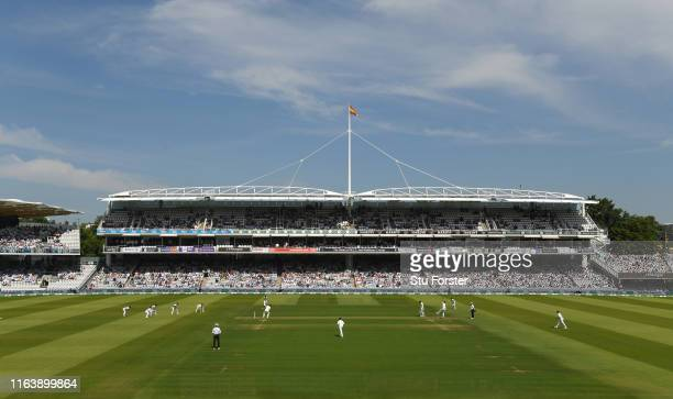 England opening batsmen Rory Burns receives the first ball of the test match from Tim Murtagh during day one of the Specsavers Test Match between...