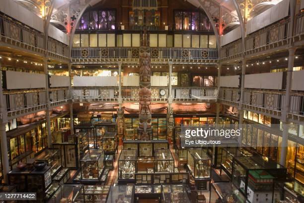 England, Oxford, Pitt Rivers Museum interior gallery.