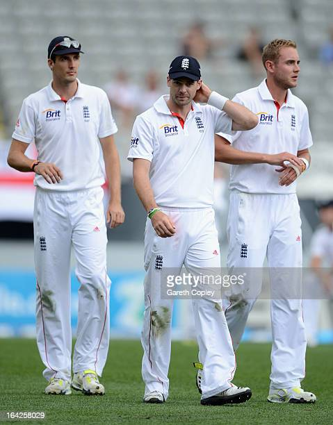 England pace bowlers Steven Finn, James Anderson and Stuart Broad during day one of the Third Test match between New Zealand and England at Eden Park...