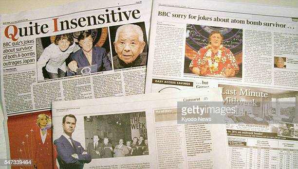 LONDON England Photo shows British newspapers reporting on a controversy over a BBC program that joked about Japanese atomicbomb survivor Tsutomu...