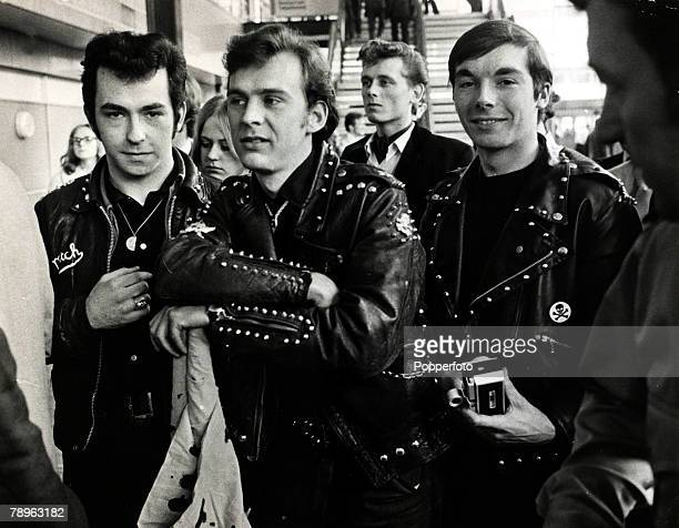 April 28th 1968 A group of new generation Rockers at London Airport awaiting the arrival of Rock n Roll king Bill Haley Rockers were motor cycle...