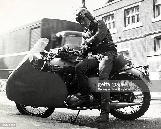 circa 1964 A teenage Rocker with his Triumph motorcycle Rockers were motor cycle enthusiasts wearing leather and with no real regard for their...