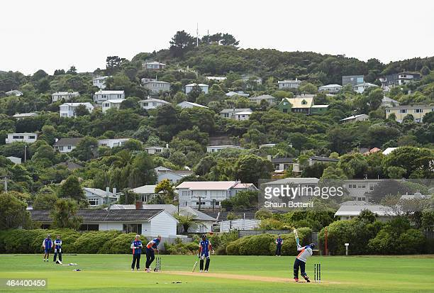 England play a match during an England nets session at Karori Park on February 26, 2015 in Wellington, New Zealand.